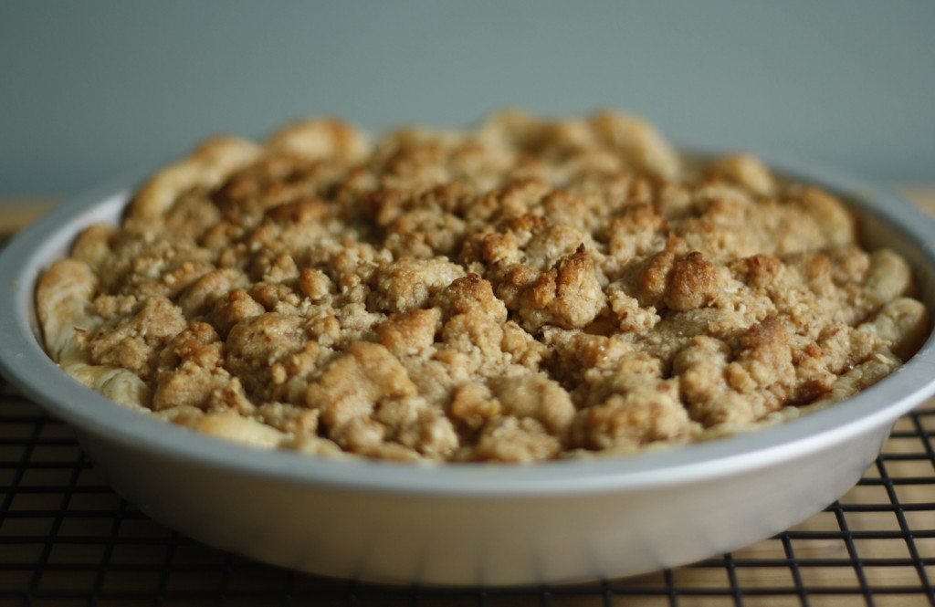 brown butter bourbon apple pie with almond crumble