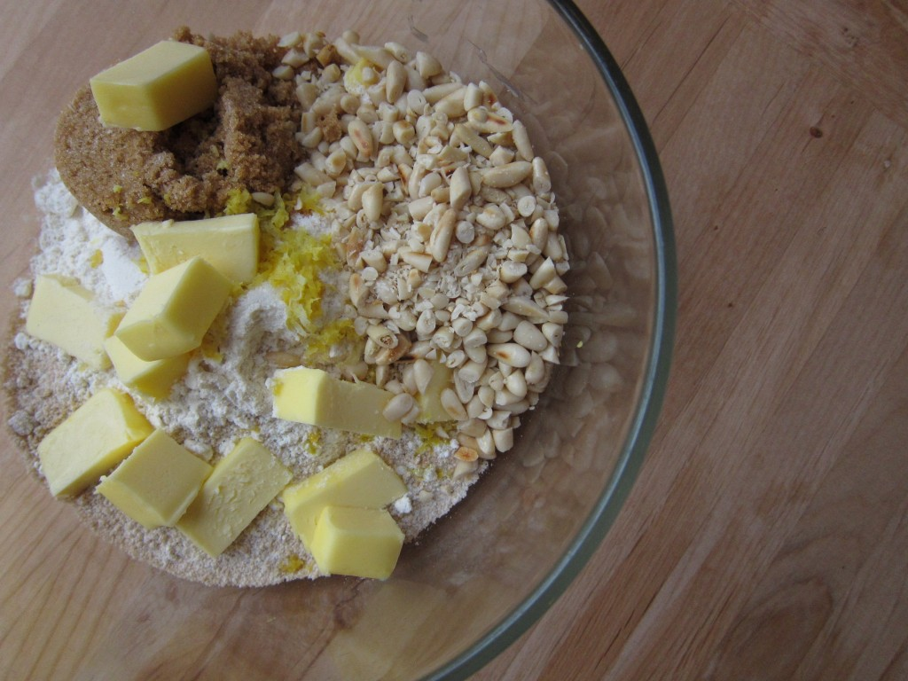 meyer lemon yogurt cake with toasted pine nut crumble