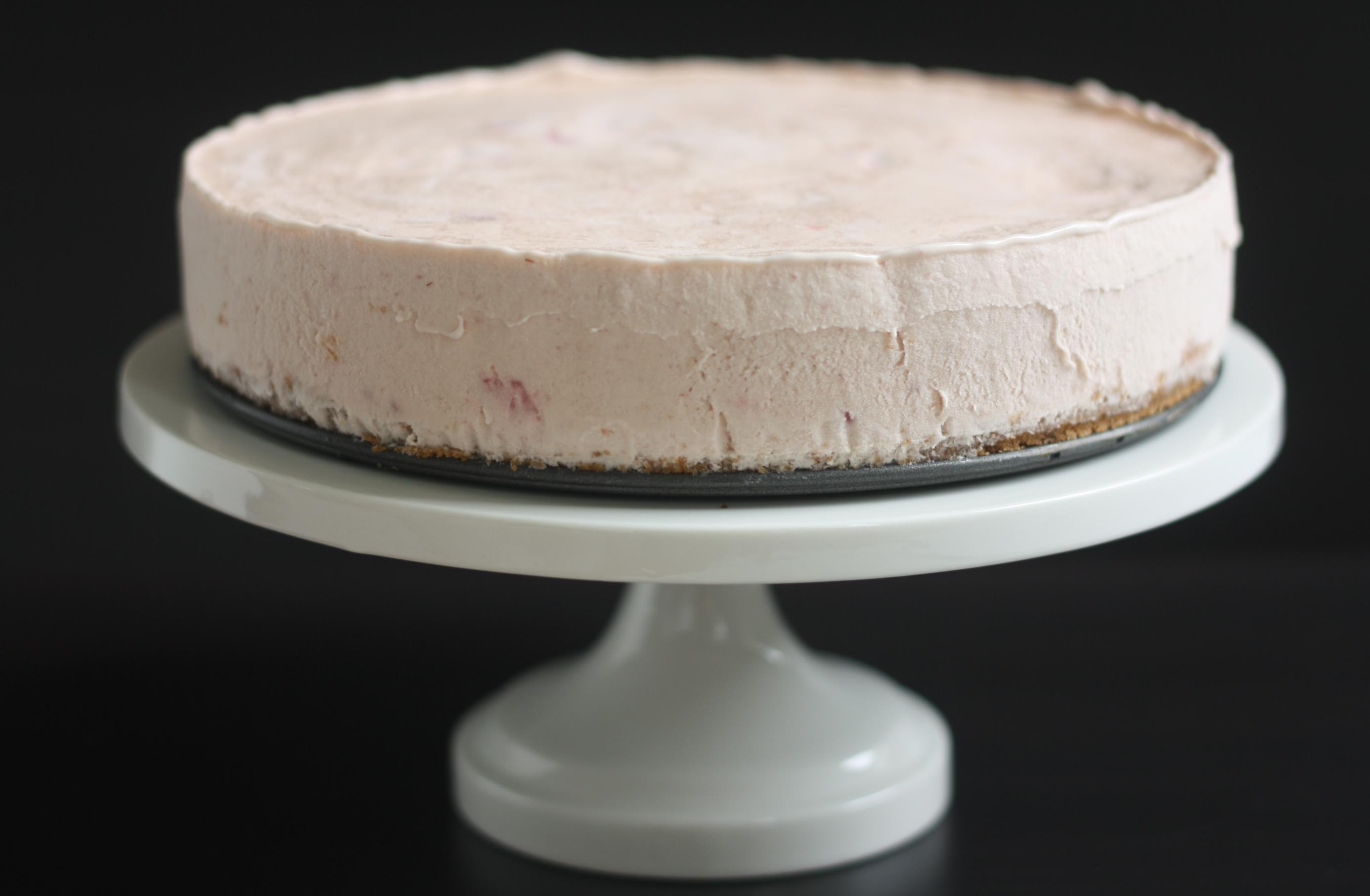 strawberry basil ice cream pie with waffle cone crust