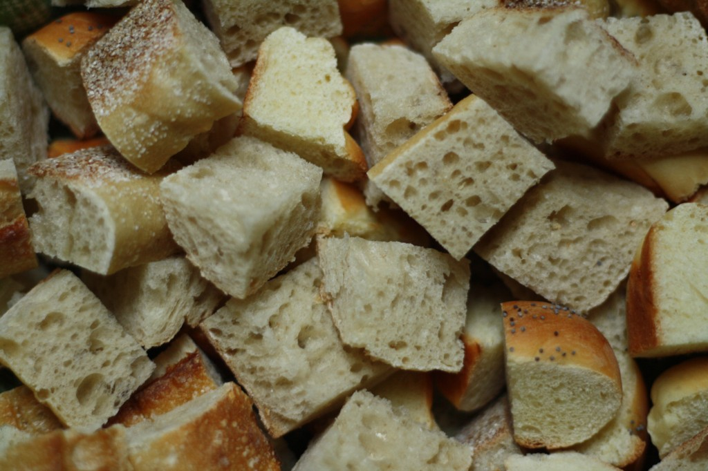 cubed day-old bread