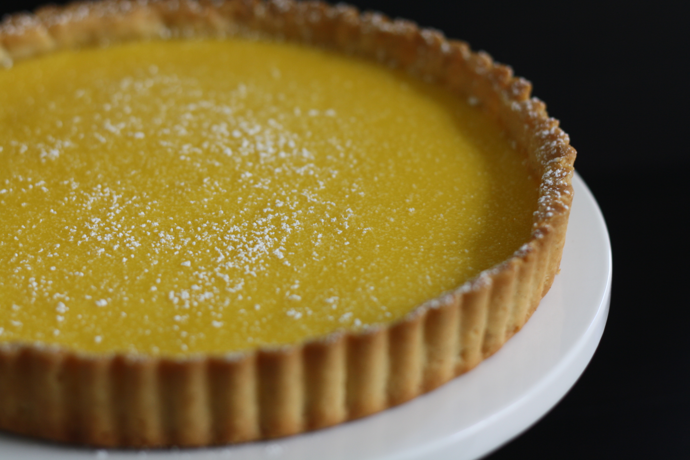tangerine tart with vanilla bean shortbread crust
