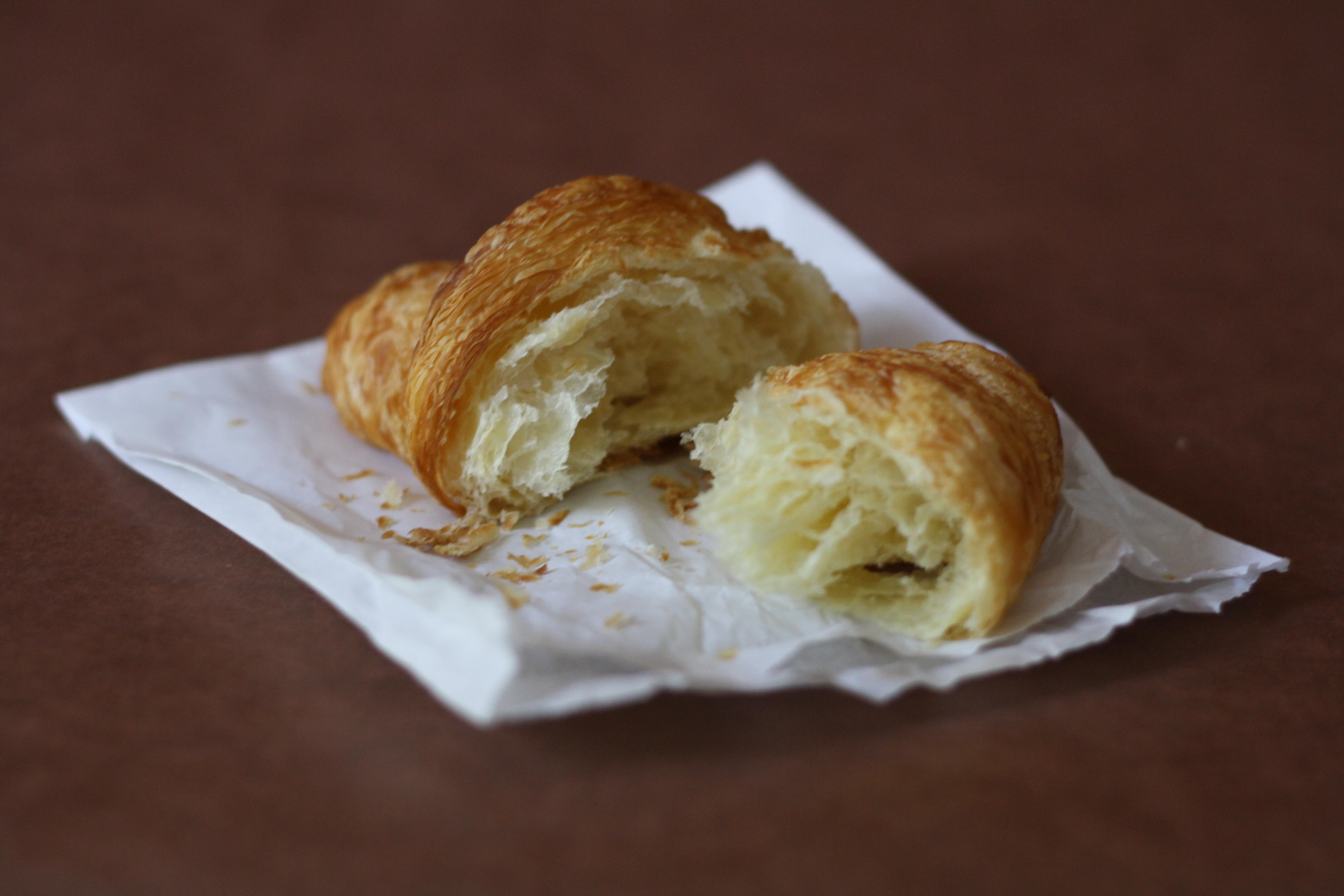 croissant, in half