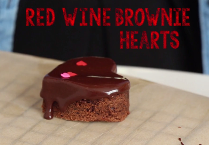 red wine brownie hearts